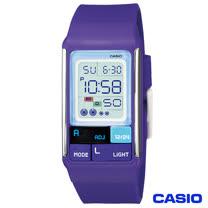 CASIO卡西歐 新幾何積木方塊風格電子腕錶-紫 LDF-52-6A