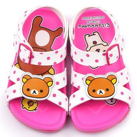 童鞋城堡-拉拉熊 中童 軟木風格涼鞋KM3924-白