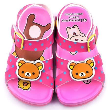 童鞋城堡-拉拉熊 中童 軟木風格涼鞋KM3924-桃