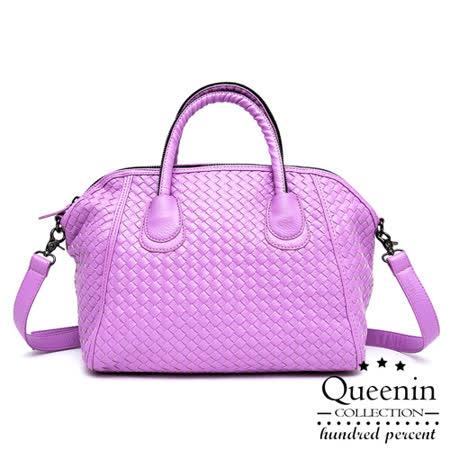 【好物分享】gohappy 購物網DF Queenin日韓 - 日系編織款大容量2用式貝殼包-紫色評價如何happy go 購物