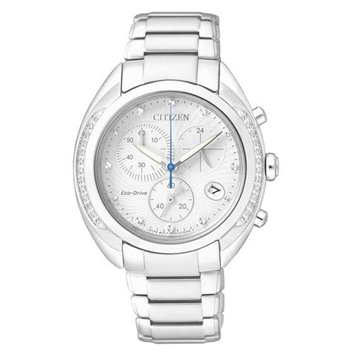 CITIZEN~L~靜謐雅緻晶鑽光動能計時腕錶^(白~36mm~FB1381~54A^)