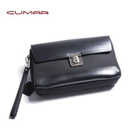CUMAR 尼龍配皮手拿包(皮製提把可拆卸) 0296-49301