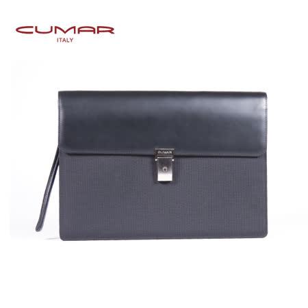 CUMAR 尼龍配皮手夾包 (隱藏式提把) 0296-55301
