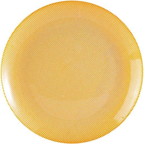 ~EXCELSA~Diamond菱紋玻璃淺餐盤^(黃25cm^)