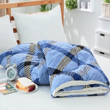 【FOCA】書香情味-藍-3M 吸濕排汗涼感精梳純棉四季被(台灣製)
