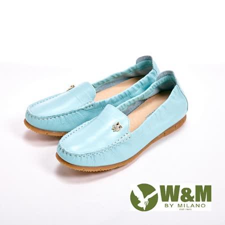 【W&M】貓頭鷹可水洗柔軟防滑鞋底 豆豆鞋莫卡辛鞋女鞋-淺藍(另有白、粉)