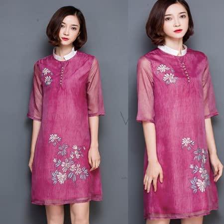 【MIDORI╭。綠】中國風真絲順羽花朵五分袖洋裝FD316