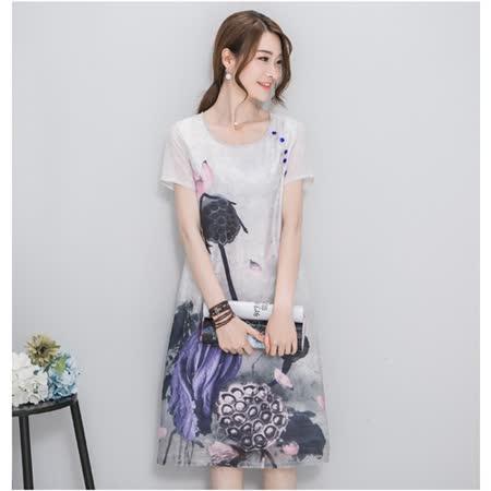 【MIDORI╭。綠】文藝中國風水墨印花短袖洋裝FD317