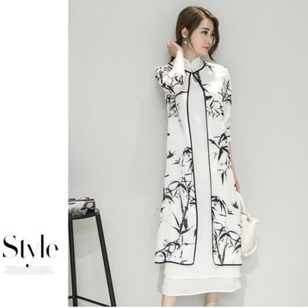 【MIDORI╭。綠】中國風旗袍式松竹水墨畫兩件套洋裝FD318