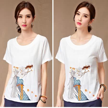 【MIDORI╭。綠】中國風美女圖刺繡棉麻短衫FD319