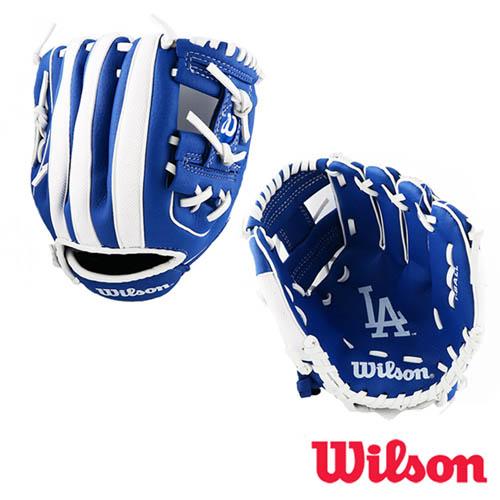 【WILSON】 威爾森 美國職棒大聯盟獨家授權 - 親子款兒童手套 洛杉磯道奇款 遠 百 股價WTA02RB16LAD