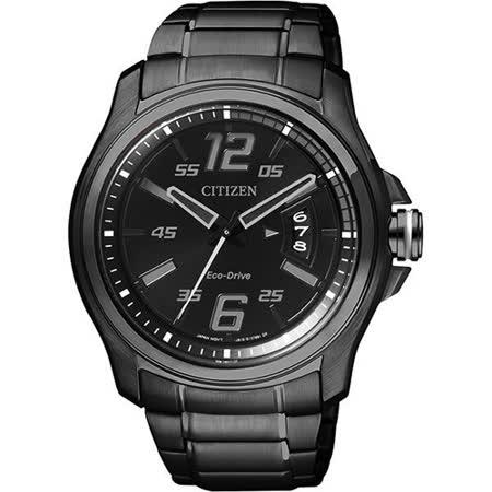 CITIZEN Eco-Drive 光動能鋼鐵競速運動風格腕錶-黑/42mm AW1354-58E