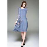 【E . A Runway】高端優雅刺繡絲質七分袖長洋裝EA379