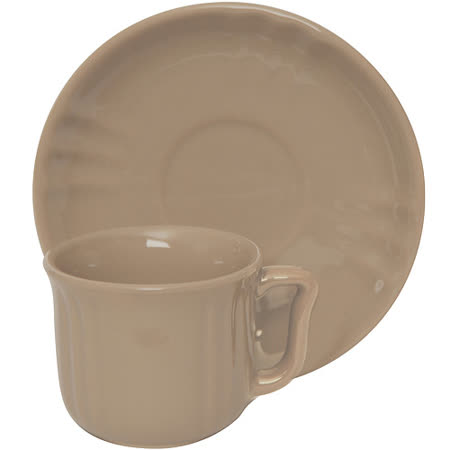 《EXCELSA》Chic陶製咖啡杯碟組(淺棕90ml)
