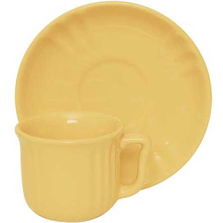《EXCELSA》Chic陶製咖啡杯碟組(奶油黃90ml)