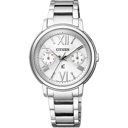 CITIZEN xC 光動能羅馬浪漫日曆女用腕錶-銀/32mm FD1090-54A