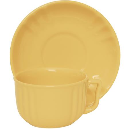 《EXCELSA》Chic陶製咖啡杯碟組(奶油黃220ml)