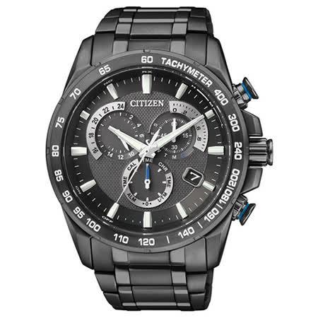 CITIZEN Eco-Drive 英雄魅力鈦金屬光動能電波腕錶(IP黑/43mm) AS8025-57E