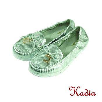 Kadia.蝴蝶亮鑽方塊牛皮包鞋(銀色)