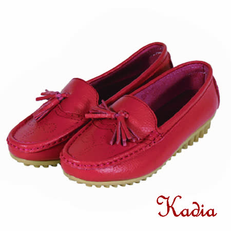 kadia.流蘇真牛皮包鞋(紅色)