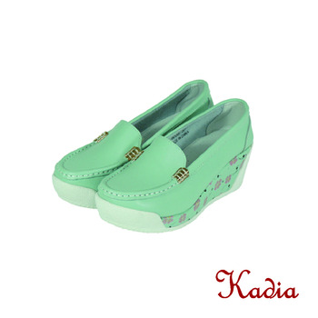 kadia.側邊花紋牛皮厚底休閒鞋(藍色)
