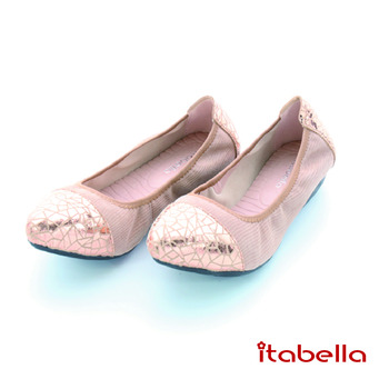 itabella.爆裂紋拼接包鞋(粉色)