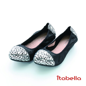 itabella.爆裂紋拼接包鞋(黑色)