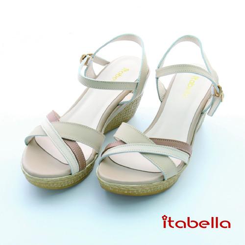 itabella.雙色牛皮楔型涼鞋^(棕色^)