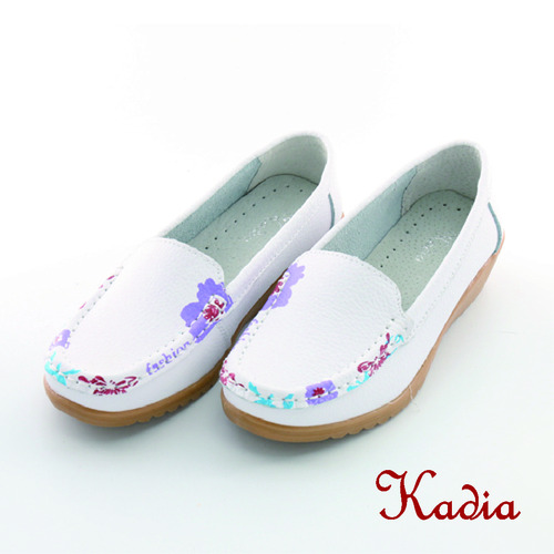 kadia. 牛皮花邊休閒鞋^(白色^)
