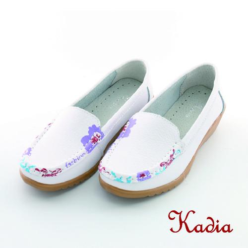 kadia. 牛皮花邊休閒鞋(白色)
