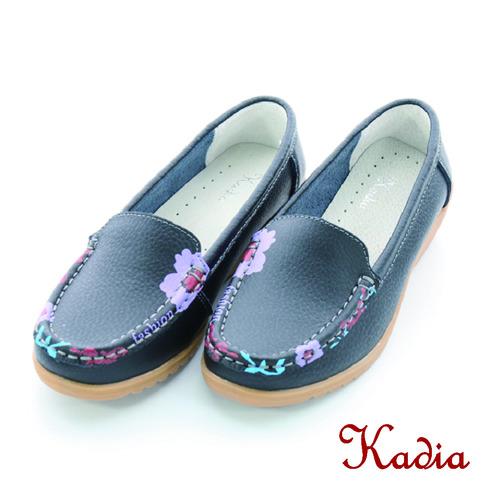 kadia. 牛皮花邊休閒鞋(黑色)