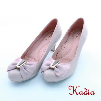 kadia.蝴蝶結羊皮高跟鞋(米色)