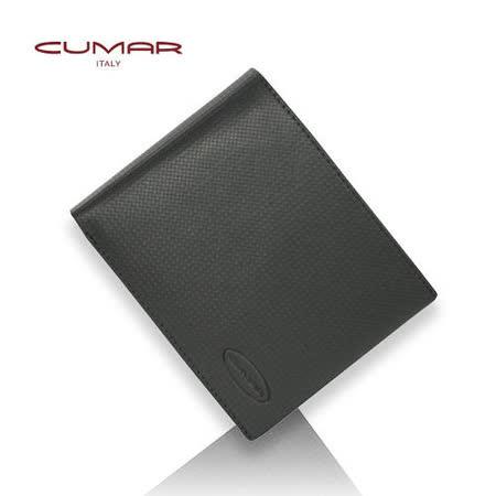 CUMAR極簡牛皮菱格壓紋(三層左右翻短夾)0496-C0901