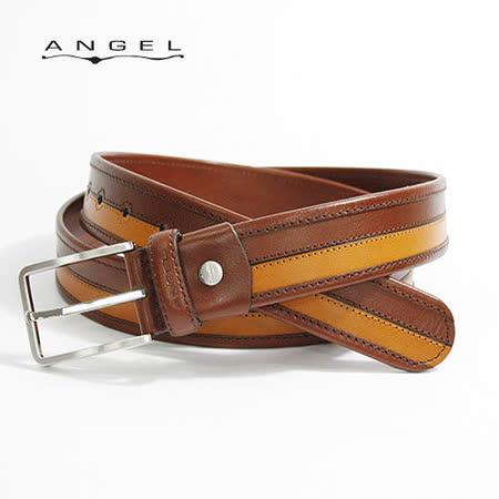 ANGEL義式雙色拼接穿針休閒牛皮皮帶0566-97402