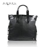 ANGEL極致黑牛皮托特包(橫式)0266-A6901