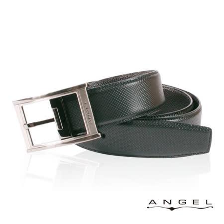 ANGEL精選型男休閒皮帶(深黑點狀壓紋)B2701-1