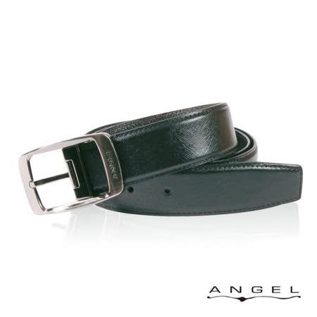 ANGEL精選型男休閒皮帶(極黑斜線壓紋)B2701-2