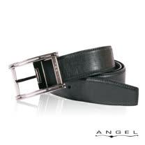 ANGEL精選型男休閒皮帶(極黑線條壓紋)B2701-5