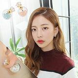 【PS Mall】韓版 超閃鋯石水鑽七彩玻璃球氣泡雙面耳釘 耳環 (G1896)