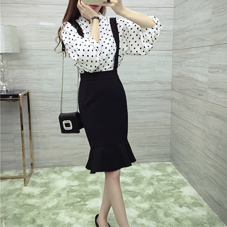 【DearBaby】韓風復古點點雪紡百搭上衣+吊帶裙兩件組(共兩色)*預購