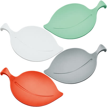 《KOZIOL》葉子盤杯蓋4入(白橘灰綠)