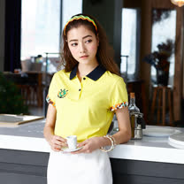 【LEIDOOE】迷彩袖經典休閒女款短袖POLO衫-黃16651