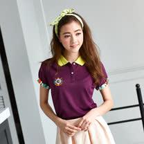 【LEIDOOE】迷彩袖經典休閒女款短袖POLO衫-紫16650