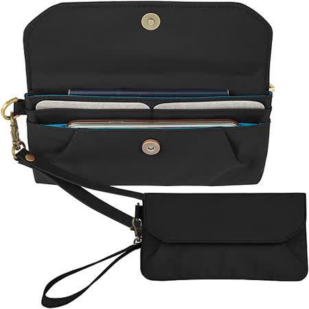 《TRAVELON》摺紋磁扣防盜手拿包+腕帶(黑藍)