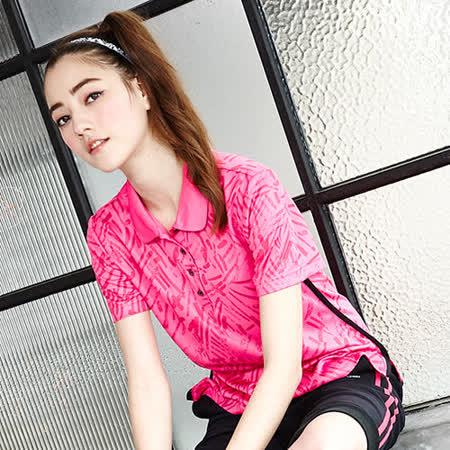 【LEIDOOE】筆觸線條休閒女版短袖POLO衫-桃紅16659