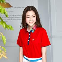 【LEIDOOE】立領格紋拼接女版短袖POLO衫-紅色16663