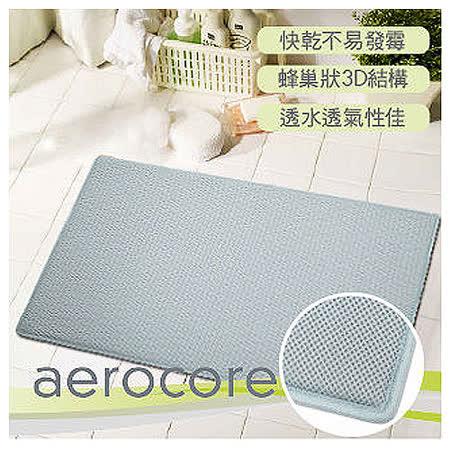 【MICRODRY時尚地墊】aerocore快乾記憶綿浴墊-(天際藍L)