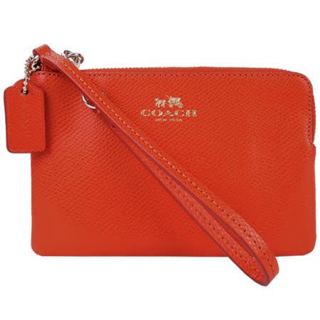COACH 馬車素面皮革L型拉鍊手拿包(橘紅)