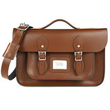 【The Leather Satchel Co.】14吋 英國手工牛皮劍橋包 手提包 肩背包 後背包多功能三用包 精湛工藝 新款磁釦設計方便開啟(栗木棕)