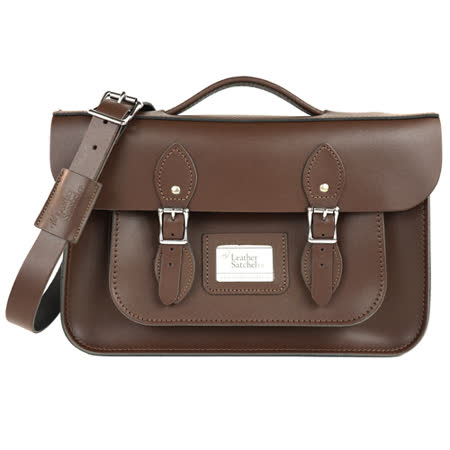 【The Leather Satchel Co.】14吋 英國手工牛皮劍橋包 手提包 肩背包 後背包多功能三用包 精湛工藝 新款磁釦設計方便開啟(可可黑)